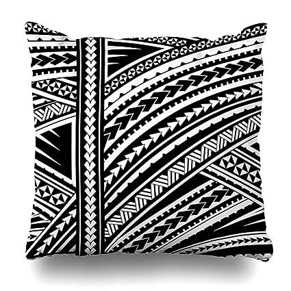 4bac4e7525eec Ahawoso Throw Pillow Cover Swirl Blue Pattern Maori Sleeve Tattoo Tribal  Abstract Spiral Polynesian Aboriginal Curl