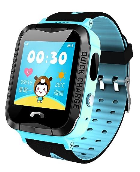GPS Rastreador NIÑOS reloj inteligente anti-lost SOS impermeable al aire libre azul relojes con linterna: Amazon.es: Relojes