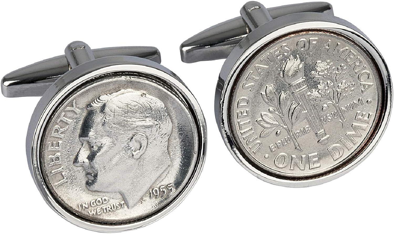 Worldcoincufflinks - Cufflinks - Rhodium plated - 65th Birthday for Men- 1955 Genuine 10 Cent Cufflinks- 100% Satisfaction Guarantee