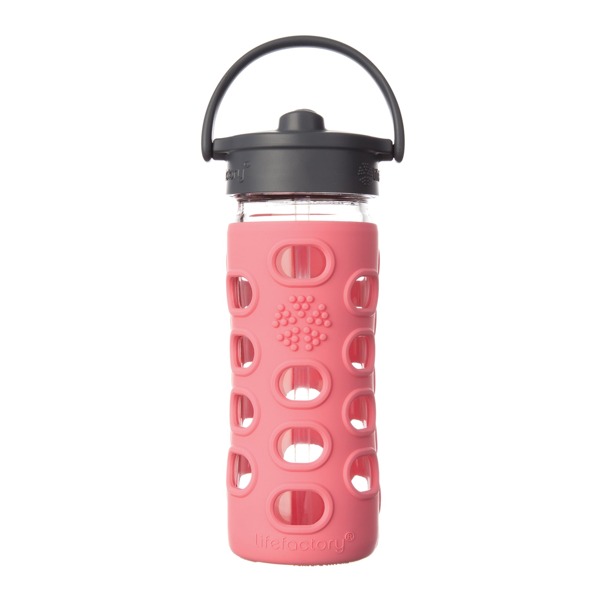 Lifefactory 12-Ounce BPA-Free Glass Water Bottle with Straw Cap and Silicone Sleeve, Coral