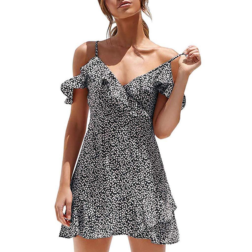 Zaidern Women Dress Women's V Neck Summer Floral Print Spaghetti Strap Ruffles Boho Mini Dresses Butterfly Sleeve Sundress Black