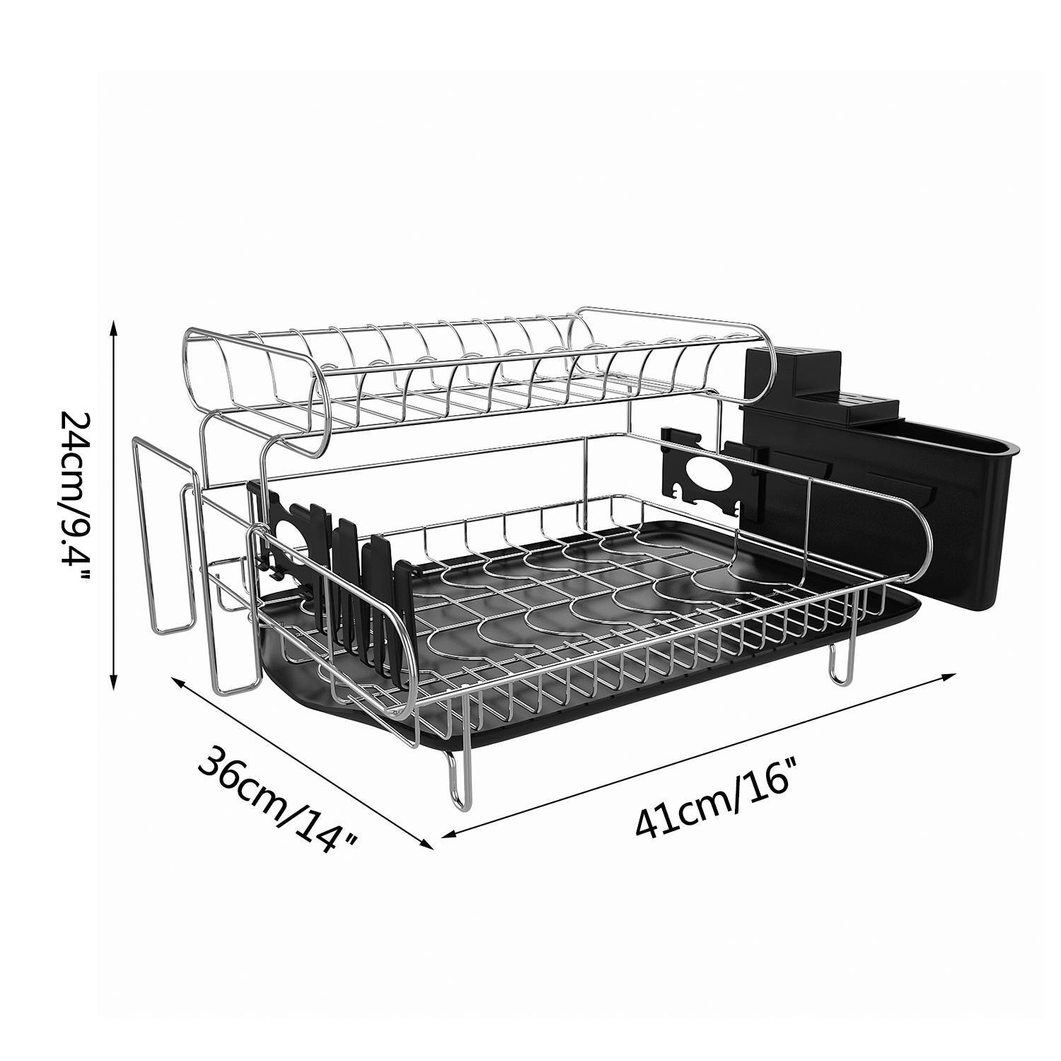 Mewalker 2 Tier Dish Drying Rack 304 Stainless Steel Professional Dish Rack with Microfiber Mat Drain Board and Cutlery Holder, Black by Mewalker (Image #8)