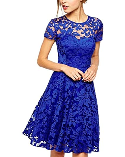 Zanzea Damen Spitze Lace Party Cocktail Bodycon Club Kurz Abend Minikleide , Bleu ,36 EU d21a6a2a0908