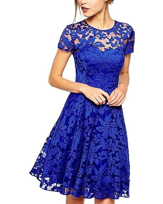 ZANZEA Mujer Vestido Encaje Elegante Cóctel Fiesta Manga Corta Vestido con Cuello Redondo Azul EU 36