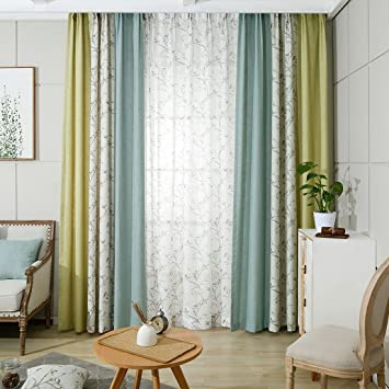 Linen Bedroom Window CurtainsBlue Chinese Classic Drapes Panel For Living RoomGreen Plain