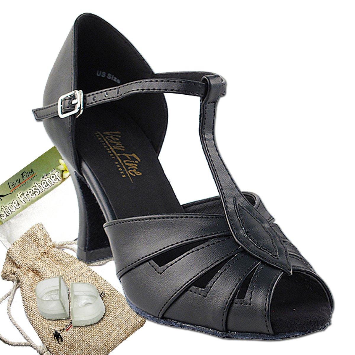 Women's Ballroom Dance Shoes Tango Wedding Salsa Dance Shoes Black Leather 2702EB Comfortable - Very Fine 3'' Heel 8.5 M US [Bundle of 5]