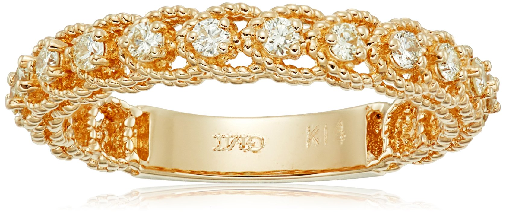 14k Twisted Yellow Gold Diamond Stackable Ring (1/3cttw, I-J Color, I1 Clarity), Size 7