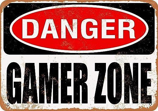 Carlena Cartel metálico Danger Gamer Zone, Estilo Vintage, para Barra de Tienda, decoración de Pared para el hogar, 20 x 30 cm