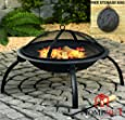 Large Fire Pit Steel Folding Outdoor Garden Patio Heater Grill Camping Bowl BBQ With Poker, Grate, Grill and Free Carry Bag
