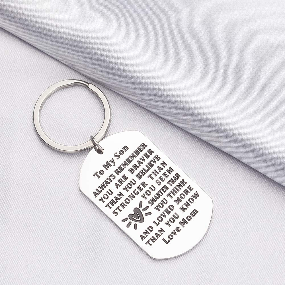 Inspirational Birthday Keychain for Graduation Gift to My Son from Mom Always Remember You are Braver Than You Believe Key Ring for Him Men Boy Stainless Steel Engraved Pendant