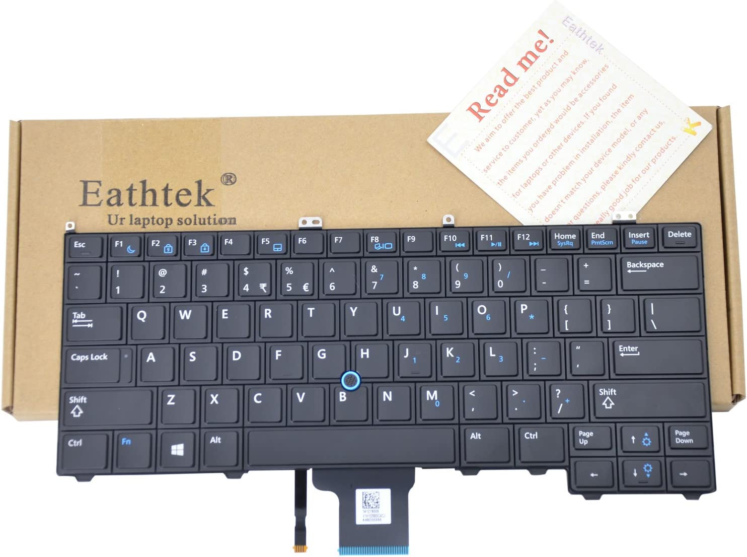 Eathtek Replacement Keyboard without Backlit for Dell Latitude E7440 series Black US Layout Compatible with part number 04G6VR PK130VN3A00 SG-60700-XUA SN7222