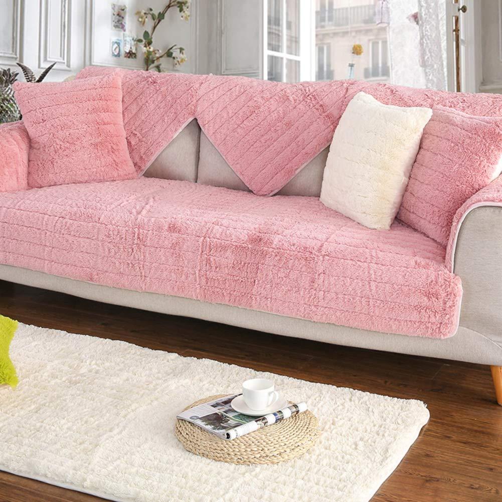 YQ WHJB Plush Solid Color Sofa Cover,Anti-Slip Bay Window Pad,Decoration Japanese Quilting Carpet Pad Sofa Towel-Pink 110x160cm(43x63inch)