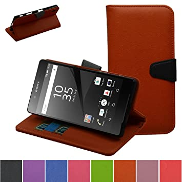 Sony Xperia Z5 Funda,Mama Mouth PU Cuero Billetera Cartera Monedero Con Soporte Funda Caso Case para Sony Xperia Z5 E6633,Naranja