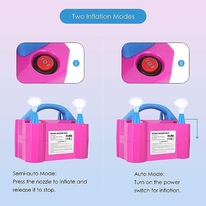 MVpower Inflador Eléctrico de Globos, Bomba electrica para Inflar Globos. Ideal para Fiestas y Eventos. 2 modos de inflado, 600W,Color Rosado