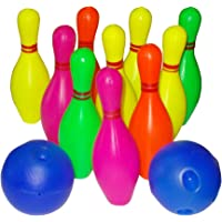 Kotak Sales Kids Bowling Game Set 10 Bottles 2 Balls Fun Play Indoor Outdoor Develops Accuracy Target Color Recognition Hand Eye Coordination Skills Birthday Gift for Child (Size 7.5 inch)
