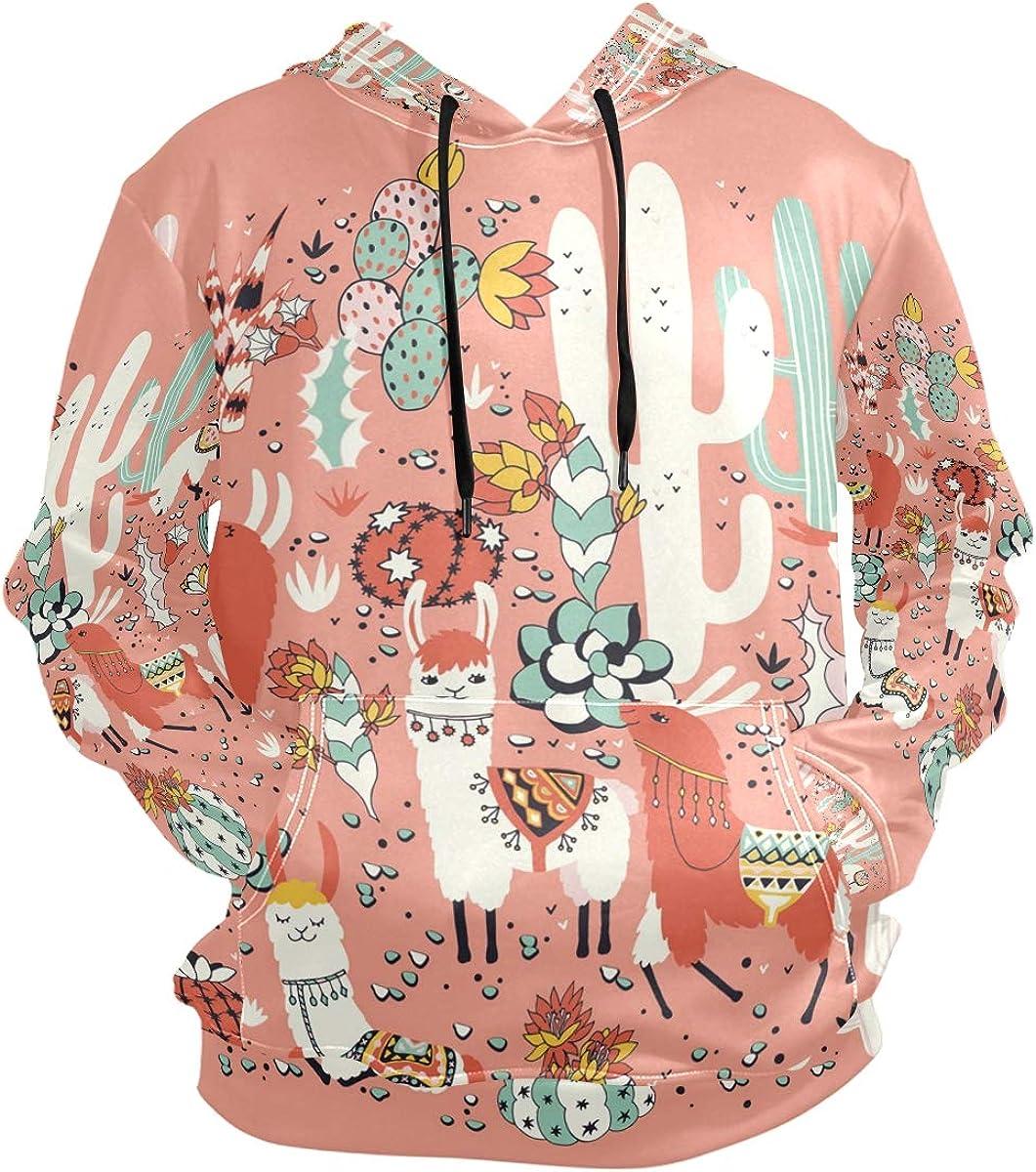 Mens Novelty Hoodies Fashion Happy Alaskan Malamute Print Long Sleeve Pullover Hooded Sweatshirt with Pocket