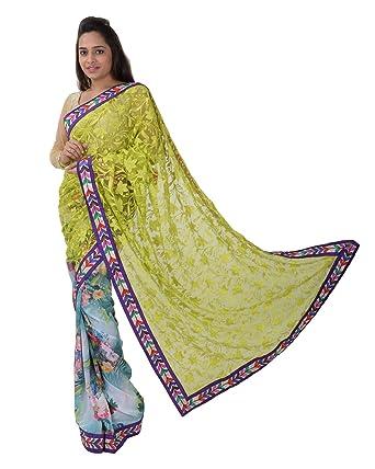 Fab Trendz Womens Georgette Kolkata Handwork Party Wear Saree