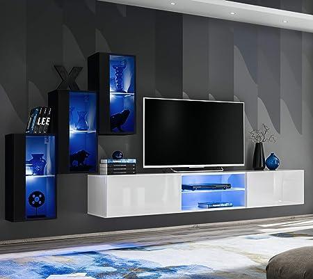 Asm Switch Xxii Meuble Tv 240 Cm De Large Avec Trois Vitrines En Verre A Cliquer Pour Portes Et Portes Blanc Noir Brillant Amazon Fr Cuisine Maison