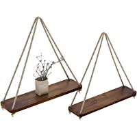 Rustic Set of 2 Wooden Floating Shelves with String – Farmhouse Hanging Shelves for Living Room Wall – Small Kitchen…