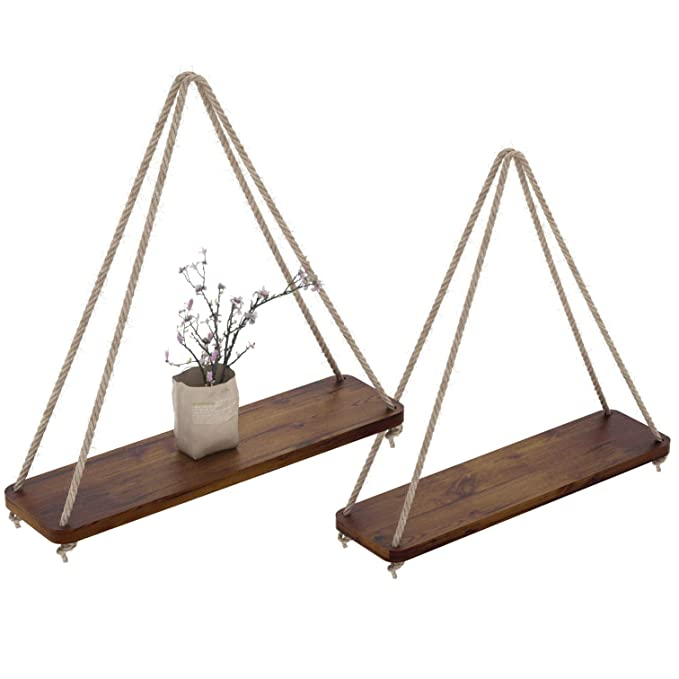 "Rustic Set Of 2 Wooden Floating Shelves With String – Farmhouse Hanging Shelves For Living Room Wall – Small Kitchen Shelves With Rope – 17""X5.2"" – Distressed, Torched Brown Color by Comfify"