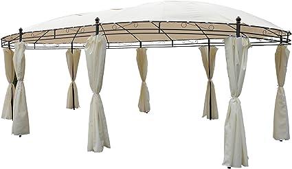 Tonnelle ovale 5,3 x 3,5 m beige Protection solaire Pavillon de jardin pa:  Amazon.fr: Jardin