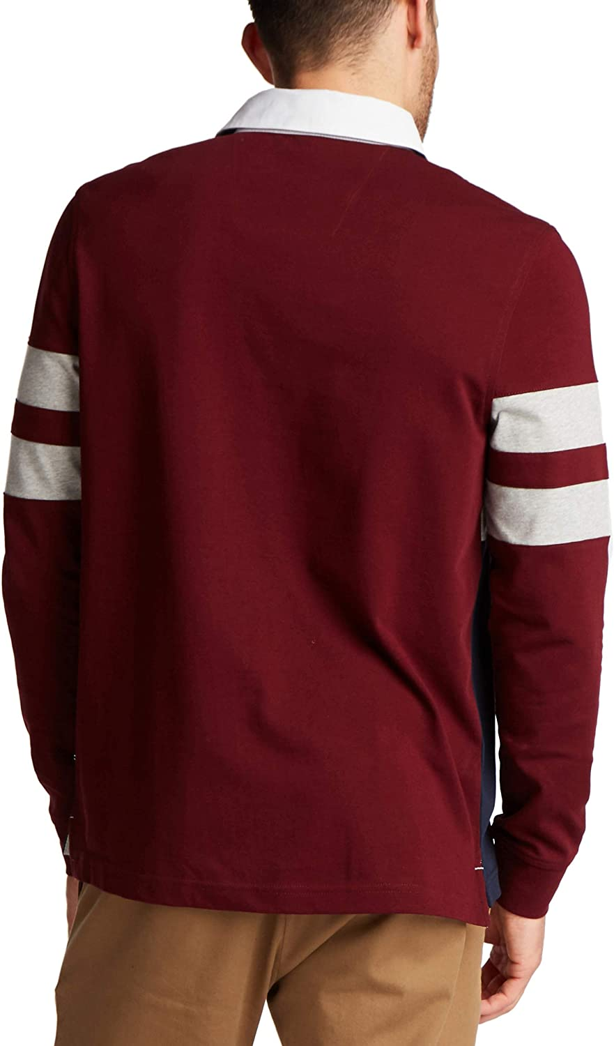 Nautica Men's Classic Fit Long Sleeve Jersey Polo in Rugby Stripe Shirt Royal Burgundy