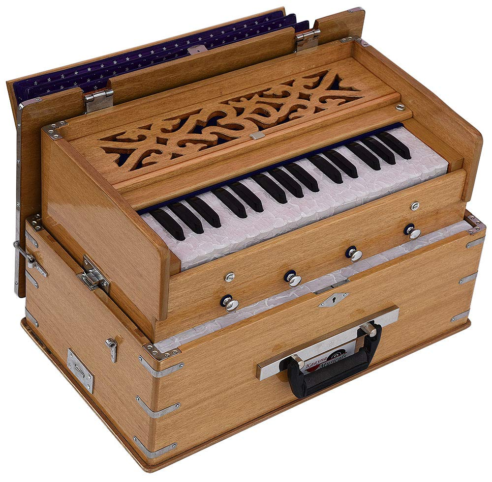 OM Safri Harmonium- 2¾ Octave By Kaayna Musicals-Portable, Traveler, Baja, 4 Stop (2 Drone), Two Set Reed- Bass/Male, Teak Color, Gig Bag, Tuning: 440Hz, Suitable for Yoga, Bhajan, Kirtan, Mantra, etc