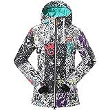 GSOU SNOW Femme Coupe-vent Capuche Matelassé Sport d'hiver Veste de Ski Neige Snowboard Manteau Imperméable Respirant Outdoor Veste