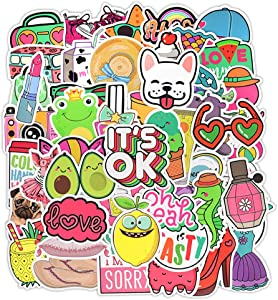 Cute Stickers Pack 50 Pcs Aesthetic Trendy Stickers Vinyl Decals for Hydro Flask Water Bottle Laptop Ipad Helmet Car Luggage for Teens Girls