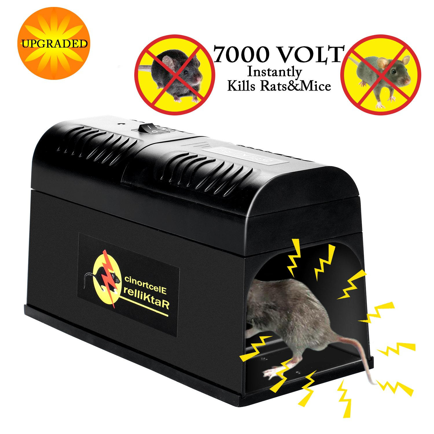 Verfanny Electronic Rat Traps,Effective and Powerful Killer for Rat,Squirrels Mice and Other Similar Rodents, Using High Voltage Humane Exterminating - Best Pest Control / 2018 Upgraded Version