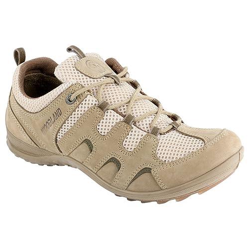 Woodland Men's Khaki Leather Boat Shoes