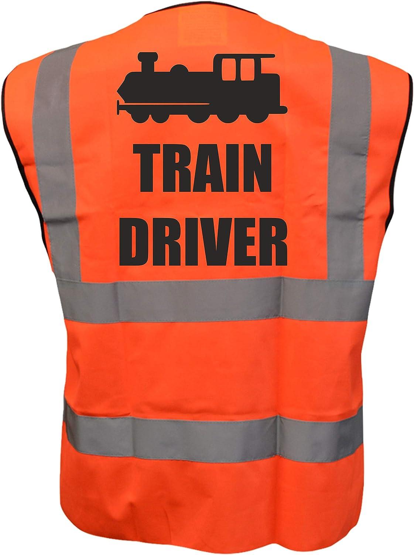 Train Driver Kids Yellow Orange Pink Hi Vis Viz Vest Waistcoat Childrens High Visibility Reflective Fancy Dress