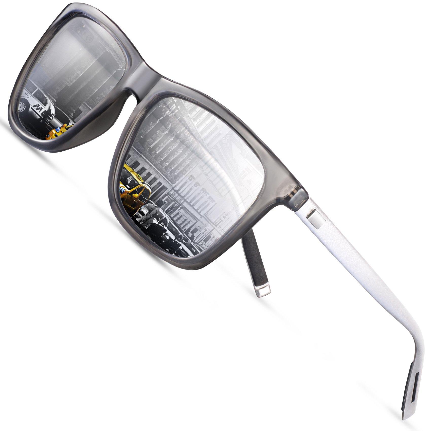 Wayfarer Sunglasses Mens Polarized Sunglasses - FEIDU Polarized Wayfarer Sunglasses UV400 Protective FD9003 (silver, 63)