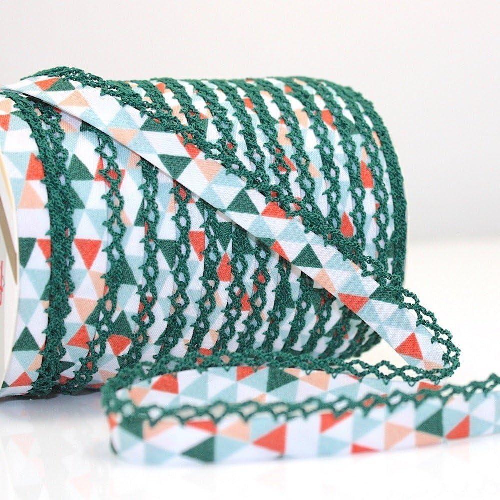 Higgs & Higgs - Triángulo Geométrico Borde de Encaje de Puntilla Bies - Naranja Verde/Verde Borde 610/62 - Algodón Borde Moderno Estampado Estrellas - Naranja, Metre: Amazon.es: Hogar
