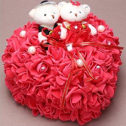 bpblgf Novia Oso Anillo Cojín Rose Corazón Forma Anillo Almohada 25 * 25 cm, Rojo