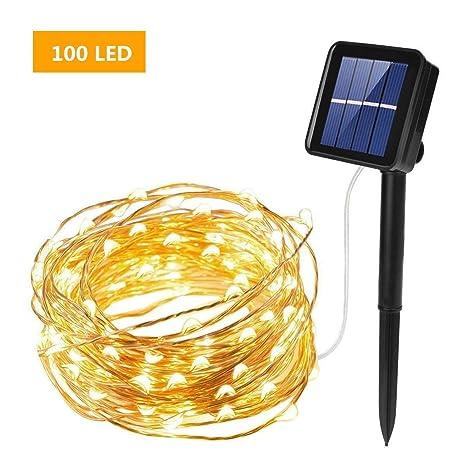 Gresonic Solar Lichtdraht 100er LED Lichterkette Drahtlichterkette Mikro Dekoration Beleuchtung Draht Mini Zubeh/ör f/ür Party Hochzeit Feiern Garten Weihnachten Drahtleuchten 2 Packung