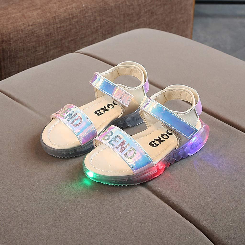 ❤️Rolayllove❤️ 12M-6Y Baby Boys Girls Sport Sandals Little Kids Toddler Newborn Luminous LED Light Up Open-Toe Slippers Boots Crib Shoes
