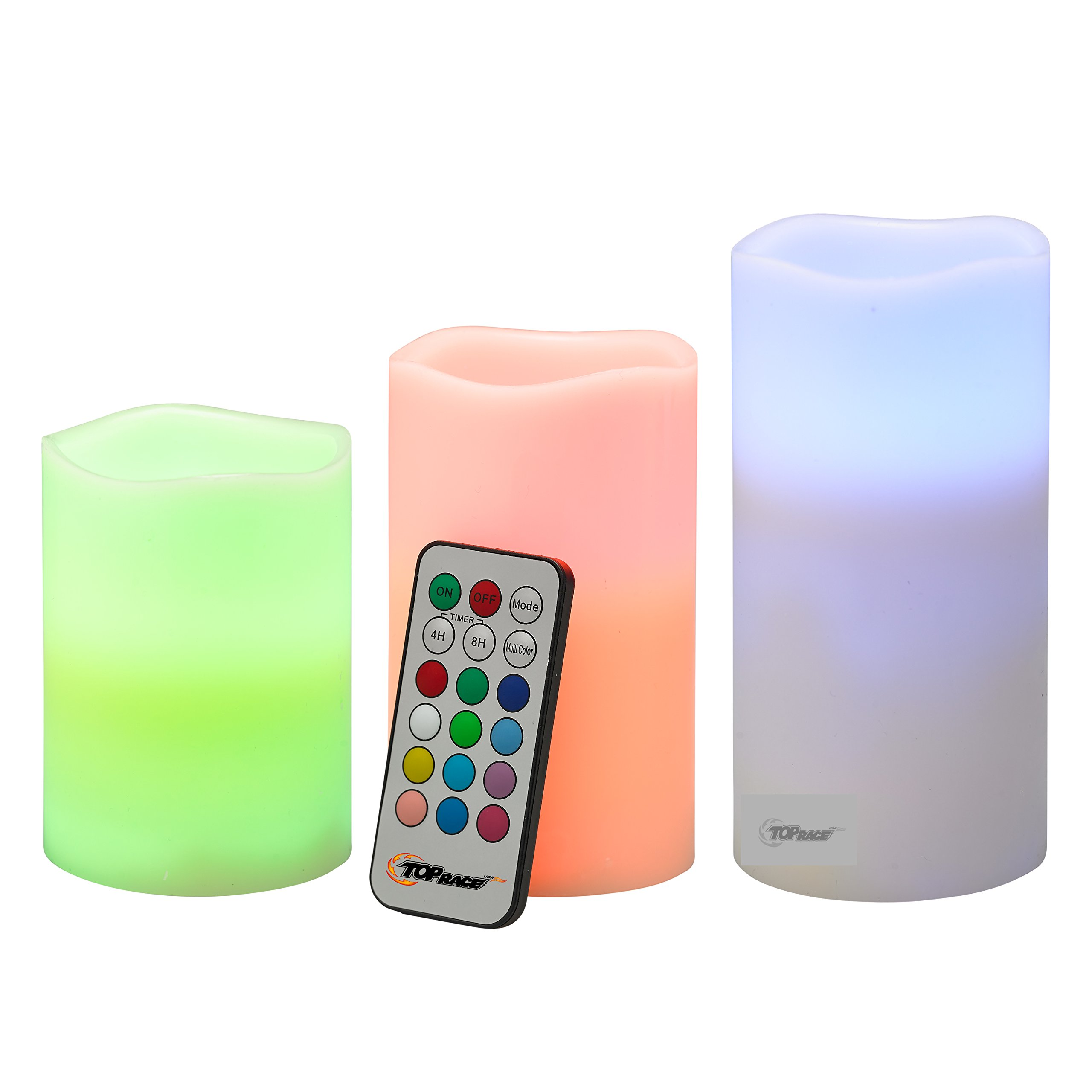 Flameless Candles Set of 3 Flickering LED Candles Real Wax Color Changing Candles Flameless Candle Lights Battery Operated with Remote & Timer – Set of 3