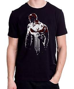 101Sports The Defenders Daredevil Punisher T-Shirt Mash up Black T-Shirt Unisex Soft Style (S)
