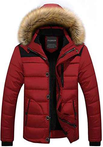 Menschwear Herren Winter Warme Jacke Daunenjacke Mantel Kurzmantel mit Abnehmbarer Kapuze Pelzkragenze