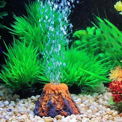LVOERTUIG Aquarium Volcano Air Stone Bubbler Oxygen Pump Resin Crafts Ornament for Fish Tank Decorations(