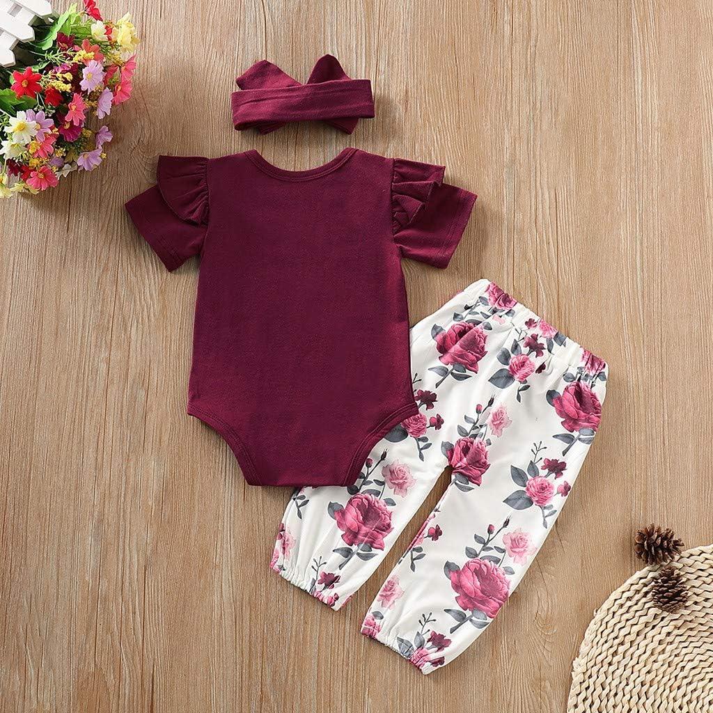 Floral Long Pants 3PCS Newborn Baby Girls RomperJumpsuit Headbands Set Outfits