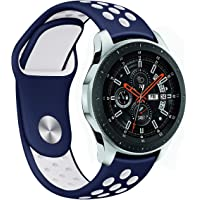 For Samsung Gear S3 Frontier/Galaxy Watch 46mm Bands and Moto 360 2nd Gen 46mm Watch Band,22mm Silicone Breathable Replacement Strap Quick-release Pin for Gear S3 Classic/Frontier Smart Watch (Blue-White)