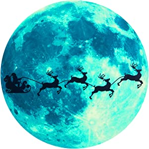 PAMASE Christmas Glow Wall Glass Stickers- Glowing in The Dark Santa On Sled& Elks Christmas Wall Decoration, Removable Luminous Wall Stickers for Home Door Window Bedroom Bathroom Xmas Holiday Decals