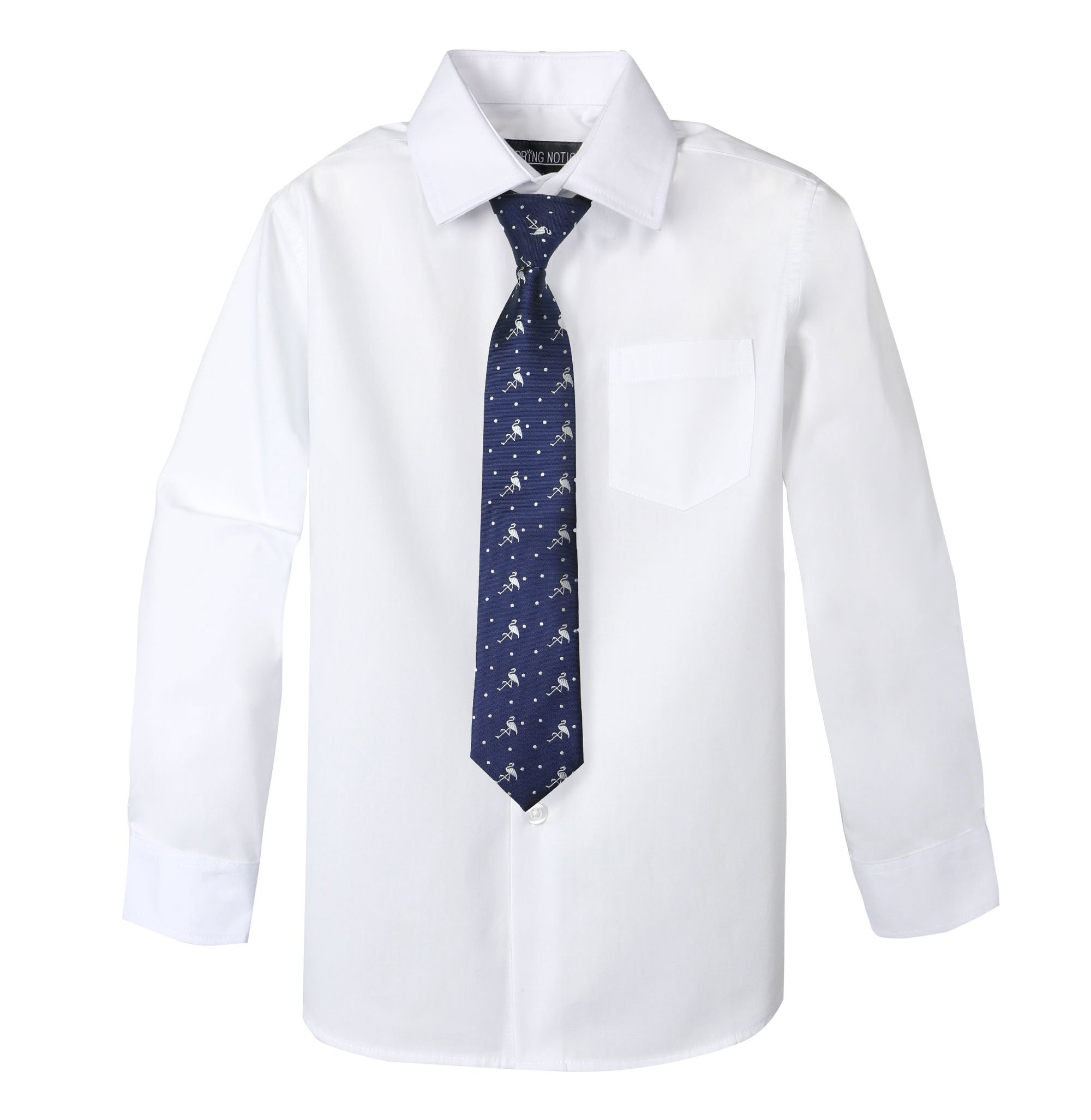 2343fac684c Galleon - Spring Notion Big Boys  Cotton Blend Dress Shirt And Tie Set 5  White