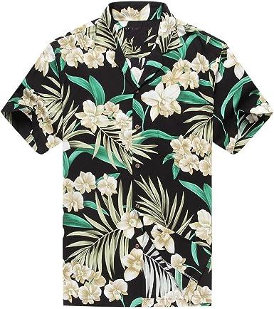 Hecho en Hawaii Camisa Hawaiana de los Hombres Camisa Hawaiana Floral Gris con Hoja Verde en Negro: Amazon.es: Ropa y accesorios