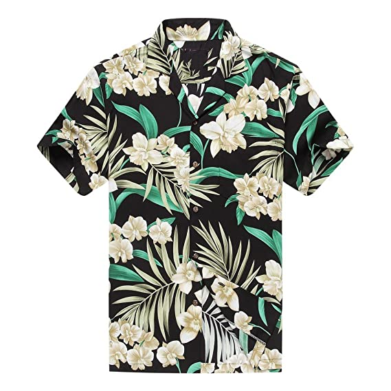 4b9429e8 Made in Hawaii Men's Hawaiian Shirt Aloha Shirt S Grey Floral with Green  Leaf in Black