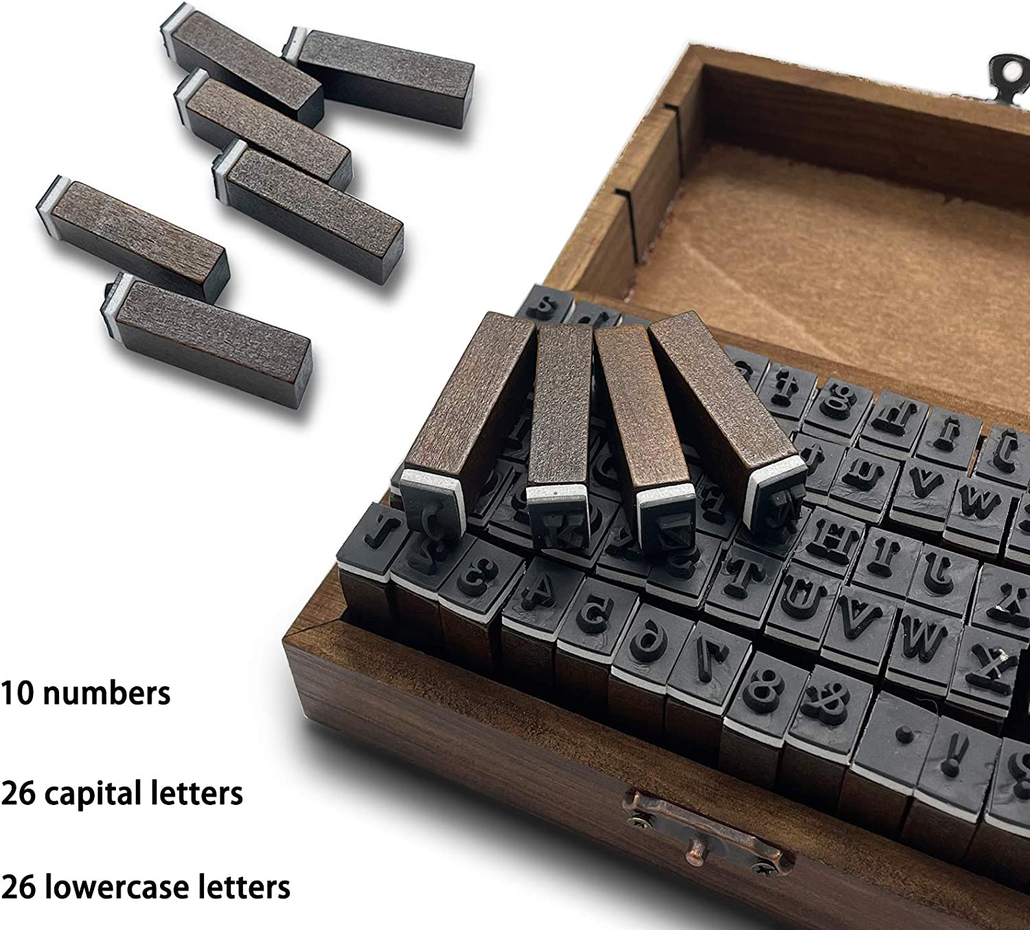 70 Pcs Alphabet Stamps Multipurpose Number Alphabet Letter Wood Rubber Stamps Set with Vintage Wooden Box for Card Making Painting Teaching
