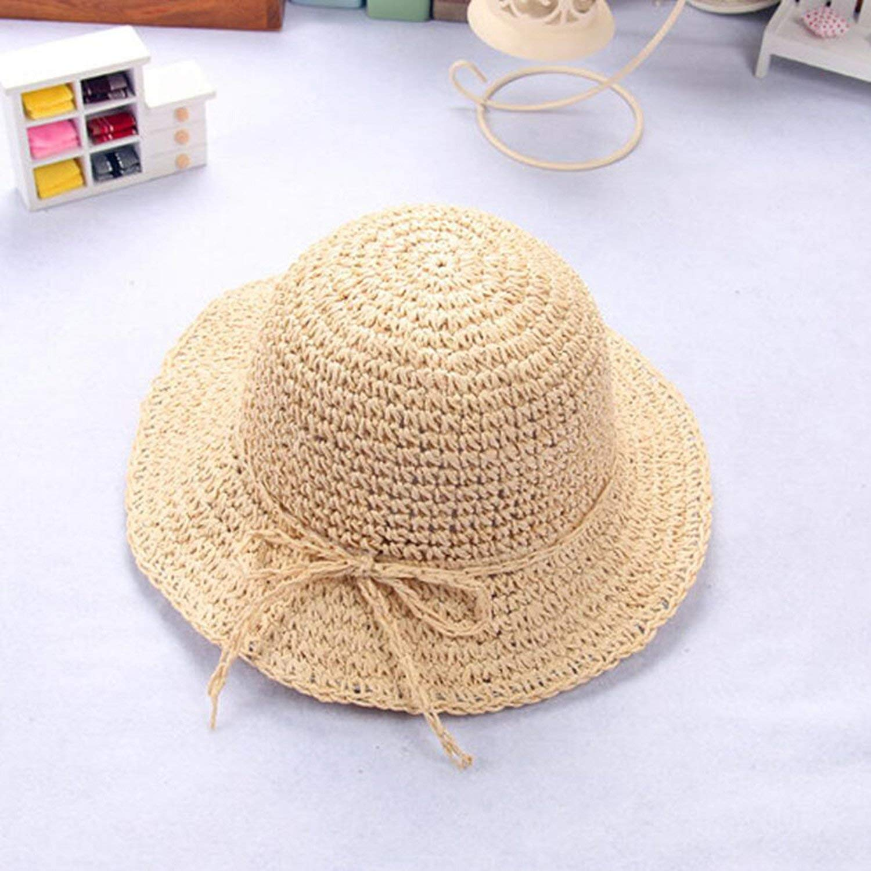 New Girls Hand Made Sun Hat Kids Summer Straw Hat Big Wing Beach Cap Foldable Breathable Summer Parent-Child Hat,Beige,52-54cm Child