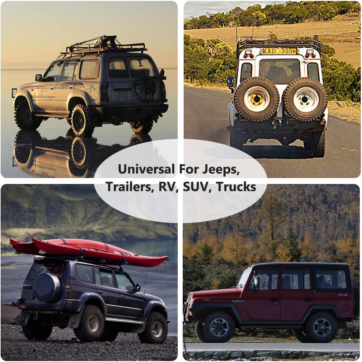 14 15 16 17 Dizzy-K Boston Terrier Spare Tire Cover Polyester Waterproof Adjustable Universal Portable Wheel Covers Fits for Jeep Trailer RV SUV Truck Camper Travel Trailer Accessories